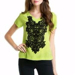 Nanette Lepore v-neck top with black lace design